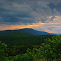 Shenandoah National Park Hogback Mountain At Sunset Horizontal by Raymond Salani III