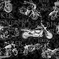 Shiny Bikes Galore In Black And White by Debra and Dave Vanderlaan