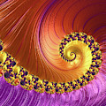 Shiny Purple And Gold Spiral by Elisabeth Lucas
