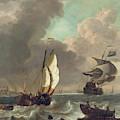 Shipping In A Stiff Breeze Off Dordrecht by Hendrick Rietschoof