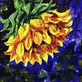 Shy Sunflower Floral Impressionism  by Irina Sztukowski