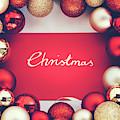 Silver Christmas Writing And Christmas Glass Balls. by Michal Bednarek