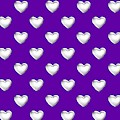 Silver Hearts On A Purple Background Saint Valentines Day Love And Romance by Rose Santuci-Sofranko