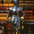 Silver Knight And Old Books by Garry Gay