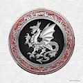 Silver Winged Norse Dragon - Icelandic Viking Landvaettir On Black And Silver Medallion Over White L by Serge Averbukh
