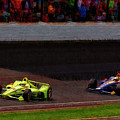 Simon Pagenaud Leads  Alexander Rossi Last Lap 2019 Indy 500 2019 by Blake Richards