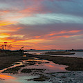 Sinepuxent Bay Sunset Panorama  by Michael Ver Sprill
