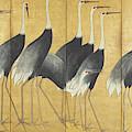 Six Panel Screen Depicting Cranes, Edo Period by Ogata Korin