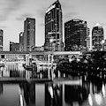 Skyline View Of Tampa Florida In Black And White by Gregory Ballos