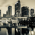 Skyline View Of Tampa Florida In Sepia by Gregory Ballos