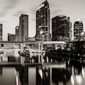Skyline View Of Tampa Florida - Sepia Edition by Gregory Ballos