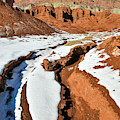 Snow Melting Beneath The Castle In Capitol Reef Np by Ray Mathis