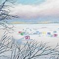 Snow Shower On The Winter Lake by Lynn Hansen