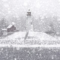 Snowy Mulholland Point Lighthouse by Marty Saccone