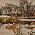 Snowy Night On The Clinton River V3 Dsc_0098 by Michael Thomas