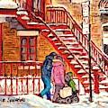 Snowy Staircase Montreal Winter Scene Painting Red Steps Strollers C Spandau Plateau To Verdun Art by Carole Spandau