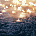Snowy Winter Background With Fairy Lights. by Michal Bednarek