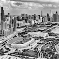 Soldier Field And Chicago Skyline Black And White by Adam Romanowicz