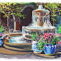 Spanish Fountain Courtyard by Irina Sztukowski
