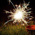 Sparkler In A Plant Pot by Scott Lyons