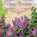 Sparrow In Lilacs Birthday Card by Carol Groenen
