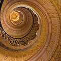 Spiral Staircase At Baroque Monastery by Richard Nebesky