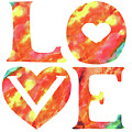 Splash Of Love Sign Watercolor Silhouette Letters Hearts  by Irina Sztukowski