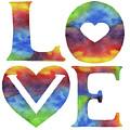Splashing Love Sign Watercolor Silhouette Letters Hearts  by Irina Sztukowski