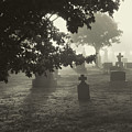 Spooky Foggy Cemetery - Black And White by Peggy Collins