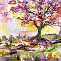 Spring Blossom Tree Warm Watercolor by Ginette Callaway