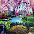 Spring Day In The Park - Plein Air by David Lloyd Glover