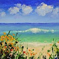 Spring Flowers And Sea And Clouds by Philip Jones
