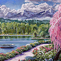 Springtime Lake Garden Walk by David Lloyd Glover