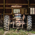 Square Format Old Tractor In The Barn Vermont by Edward Fielding