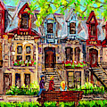 St Louis Square Park City Scene Painting Beautiful Rowhouses Blonde Girl On The Bench C Spandau Art by Carole Spandau