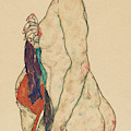 Standing Nude With A Patterned Robe, 1917  by Egon Schiele