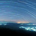 Starry Night Above Beautiful Misty by Primeimages