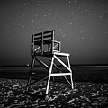 Stars Over Good Harbor Beach Lifeguard Chair Gloucester Ma Black And White by Toby McGuire