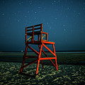 Stars Over Good Harbor Beach Lifeguard Chair Gloucester Ma by Toby McGuire