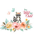 Stay Wild My Child With Raccoon by Lynn Bauer