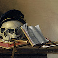 Still Life With Skull, Books, Flute And Pipe by Harmen Steenwyck