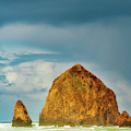 Stormy Weather At Haystack Rock  by Dee Browning