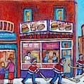 Street Hockey Game Near Decarie Hot Dog Ville St Laurent Montreal Winter Scene Painting C Spandau by Carole Spandau