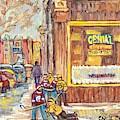 Street Hockey On The Avenues 3rd And Wellington Verdun Genial Coiffure Winter Scene C Spandau Artist by Carole Spandau
