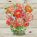 Summer Bouquet Ranunculus Flowers In The Glass Vase by Irina Sztukowski