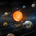 Sun And Nine Planets Orbiting by Adventtr