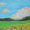 sunflower valley- Sunflower Art-Impressionism painting by Kathy  Symonds
