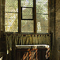 sunlight on linen fold altar in Trinity church York by Victor Lord Denovan