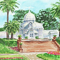 Sunny Day Conservatory Of Flowers Watercolor by Irina Sztukowski