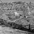 Sunny Day On Sleepy Hollow Farm Woodstock Vermont Black And White by Toby McGuire